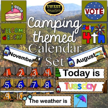 Classroom Calendar Set (Camping Theme)