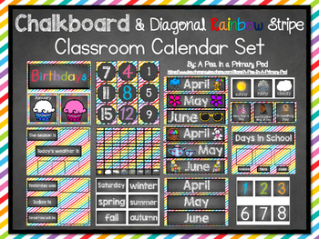 Classroom Calendar Set: Chalkboard and Diagonal Rainbow Stripe