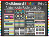 Classroom Calendar Set: Chalkboard and Rainbow Stripe 2