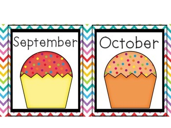 Classroom Calendar Set (Chevron and Rainbow)