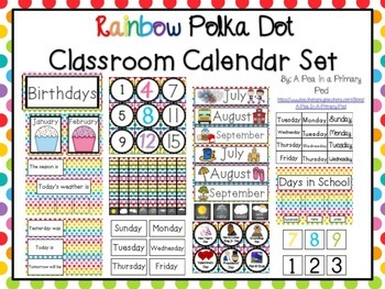 Classroom Calendar Set (Rainbow Dot)