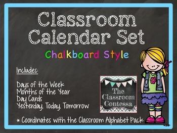 Classroom Calendar Set (chalkboard style)