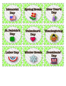 Classroom Calendar Set for Pocket Chart