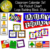 Classroom Calendar Set for Pocket Chart - LEGO Style - EDITABLE!