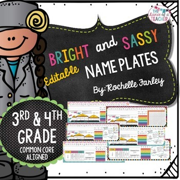 Editable Desk Name Plates-Bright and Sassy Collection