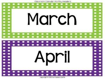 Classroom Calendar {Polka Dot Theme}