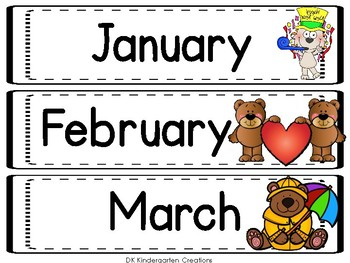Classroom Calendar and Rules with Bears