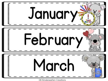 Classroom Calendar and Rules with Koalas