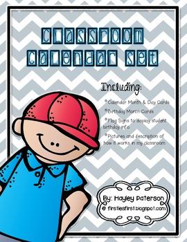 Classroom Calendar and Student Birthday Display Set