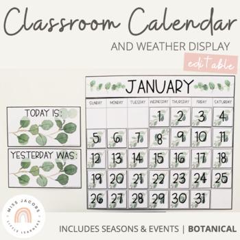 Classroom Calendar and Weather Display | Botanical Theme