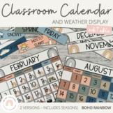 Modern BOHO RAINBOW Classroom Calendar & Weather Display   Editable Neutral