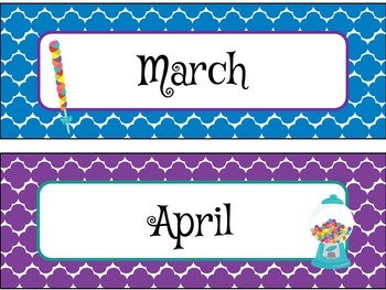 Pocket Chart or Linear Calendar in Candy Shop Theme
