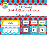 Pocket Chart or Linear Calendar in Primary Color Theme