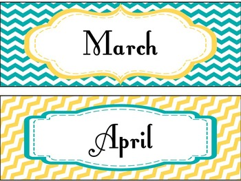 Pocket Chart or Linear Calendar in Yellow, Teal, and Gray