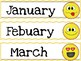 Classroom Calendar set. Months and days. emoji.