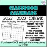 Classroom Calendars : 2019-2020 : editable : FREE lifetime updates!