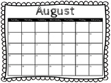 Classroom Calendars 2019-2020 *Printable* Size 18 X 24 Black and White
