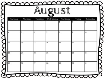 image relating to Printable Classroom Calendar titled Clroom Calendars 2019-2020 *Printable* Measurement 18 X 24 Black and White