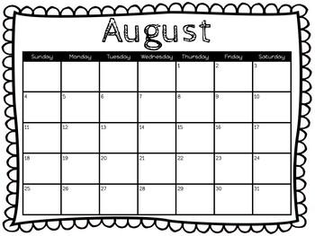 graphic regarding Printable Classroom Calendar titled Clroom Calendars 2019-2020 *Printable* Dimensions 18 X 24 Black and White