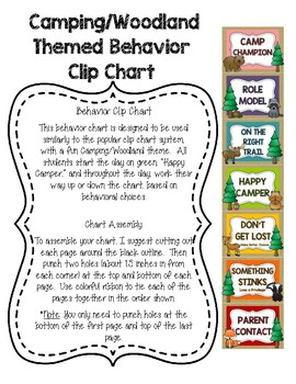 Classroom Campground - Camping/Woodland Themed Behavior Clip Chart