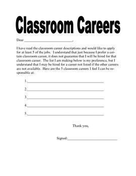 Classroom Careers-Classroom Jobs for Students
