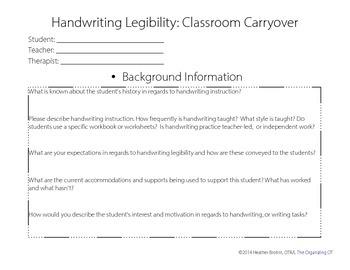 Classroom Carryover: Handwriting Legibility Consultation