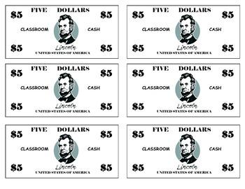 Classroom Cash ($1, $5, & $10)