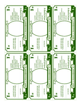 Classroom Cash Money Template - All Denominations
