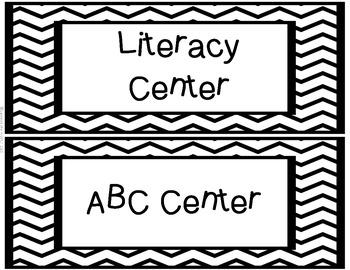 Classroom Center Labels - Black Chevron