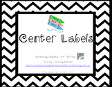 Classroom Center Labels - Black Chevron