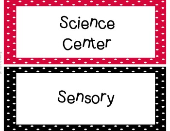 Classroom Center Labels - Black & Red Polka Dots