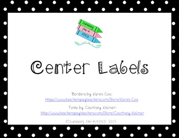 Classroom Center Labels - Black & Red Polka Dots