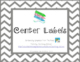 Classroom Center Labels - Pink & Gray Chevron