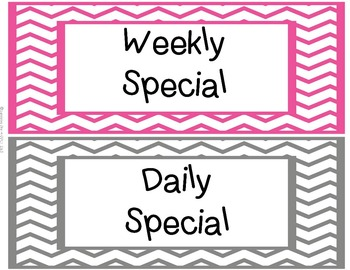 Classroom Center Labels - Pink & Gray Chevron