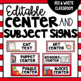 Center and Subject Signs {Work Station Signs} Red and White Classroom- EDITABLE