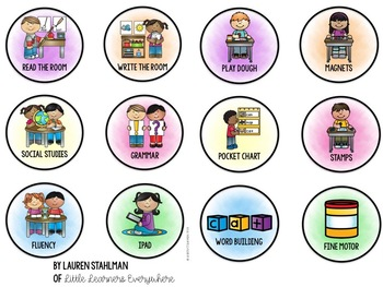 Center & Literacy Station Cards - Bright Colors