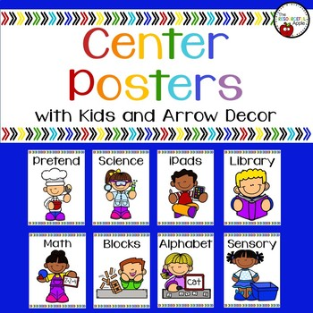 Classroom Center Posters with Kids and Arrow Decor