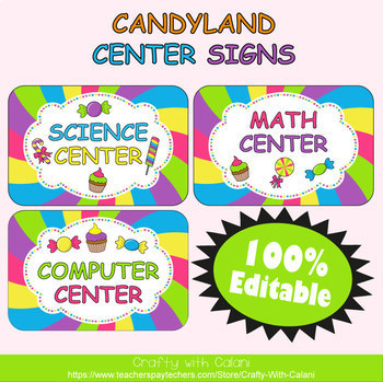 Classroom Center Sign in Candy Land Theme - 100% Editble