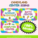 Classroom Center Sign in Candy Land Theme - 100% Editable