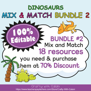 Classroom Center Sign in Cute Dinosaurs Theme - 100% Editble