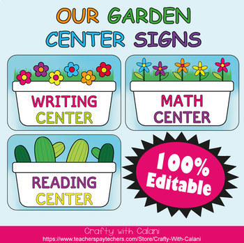 Classroom Center Sign in Flower & Bugs Theme - 100% Editble