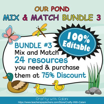 Classroom Center Sign in Our Pond Theme - 100% Editble