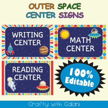 Classroom Center Sign in  Outer Space  Theme - 100% Editable