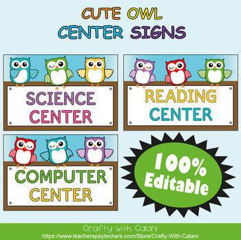 Classroom Center Sign in Owl Theme - 100% Editble