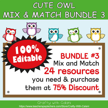 Classroom Center Sign in Owl Theme - 100% Editable