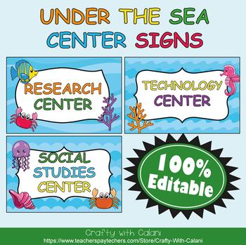 Classroom Center Sign in  Under The Sea Theme - 100% Editble