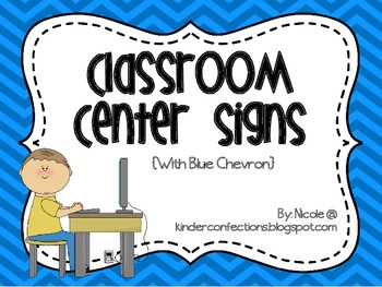 Classroom Center Signs- Blue Chevron