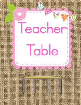 Classroom Center Signs-Burlap, Floral and Pastel