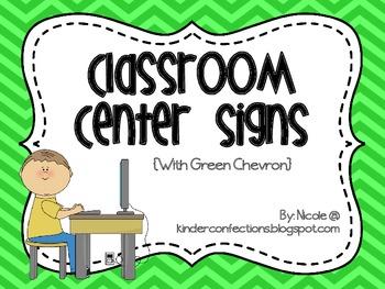 Classroom Center Signs- Green Chevron