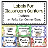 Classroom Center Signs - Polka Dots